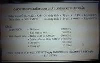 Cách tính phí kiểm định chất lượng Xe máy ô tô chuyên dùng nhập khẩu