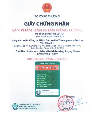 Xin giấy chứng nhận dán nhãn năng lượng